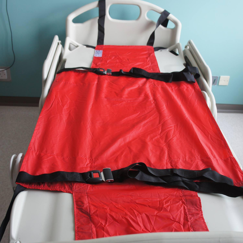 Manta de evacuación SkiSheet en una cama de hospital