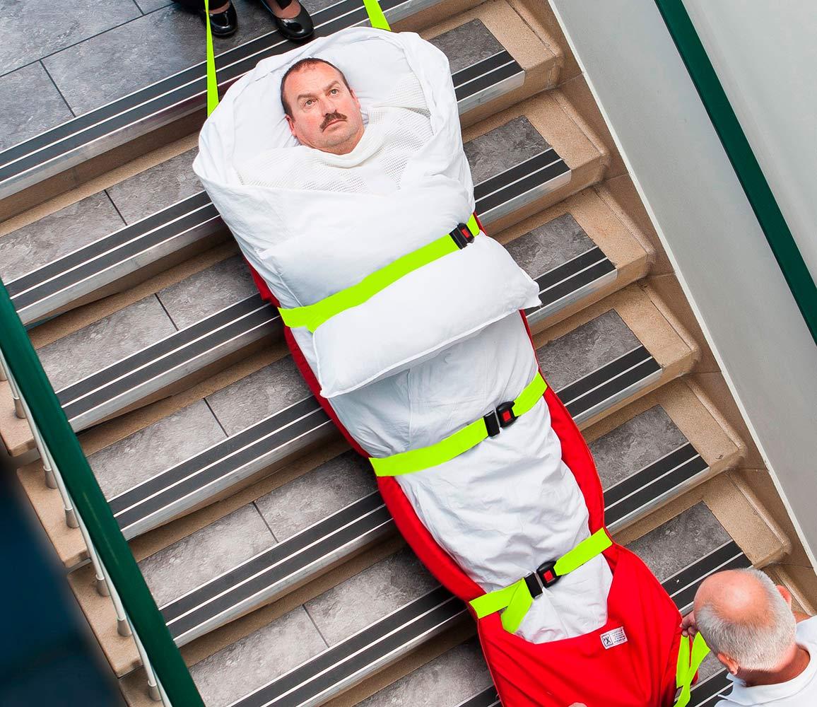 Colchon de evacuacion SkiPad en acción